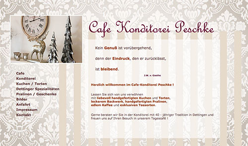 Cafe Konditorei Peschke Desktop und mobile Website